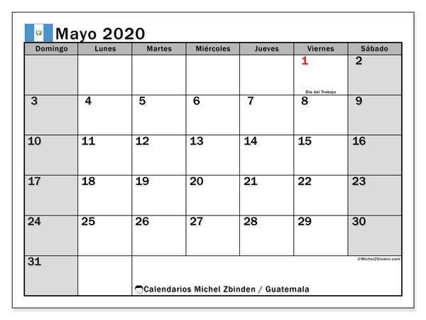 Calendario mayo 2020, con días feriados en Guatemala. Calendario vacaciones y festivos para imprimir gratis.