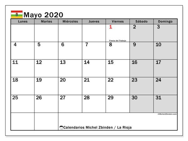 Calendario mayo 2020, con días feriados en La Rioja. Calendario vacaciones y festivos para imprimir gratis.
