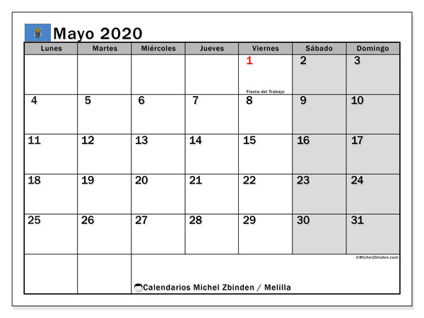 Calendario mayo 2020, con días feriados en Melilla. Calendario vacaciones y festivos para imprimir gratis.