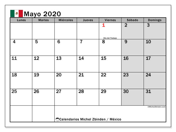 Calendario mayo 2020, con los días feriados en México. Almanaque para imprimir gratis.