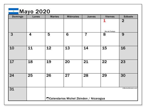 Calendario mayo 2020, con días feriados en Nicaragua. Calendario para imprimir gratis con días festivos.