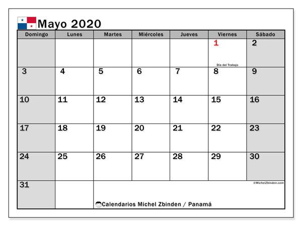 Calendario mayo 2020, con días feriados de Panamá. Calendario vacaciones y festivos para imprimir gratis.