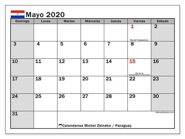 Calendario mayo 2020, con días feriados en Paraguay. Calendario vacaciones y festivos para imprimir gratis.
