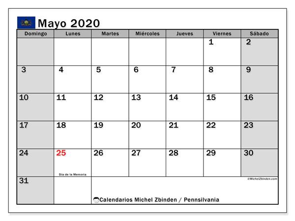 Calendario mayo 2020, con días feriados en Pennsilvania. Calendario vacaciones y festivos para imprimir gratis.