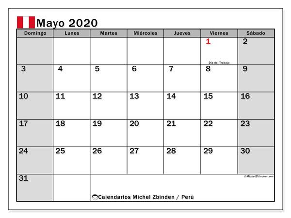 Calendario mayo 2020, con días feriados en Perú. Calendario para imprimir gratis con días festivos.