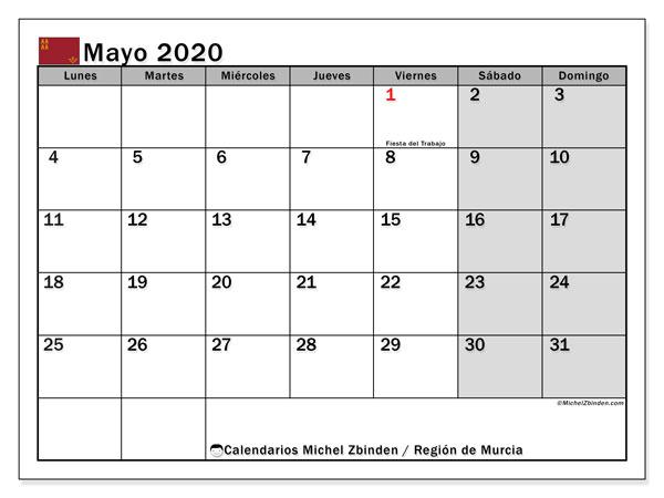 Calendario mayo 2020, con días feriados en la Región de Murcia. Calendario para imprimir gratis con días festivos.