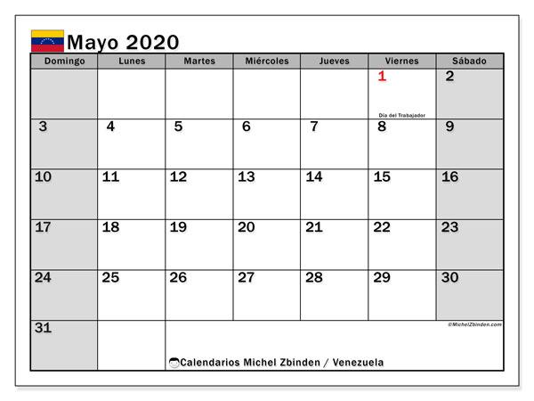 Calendario mayo 2020, con los días feriados para Venezuela. Calendario para el mes para imprimir gratis.