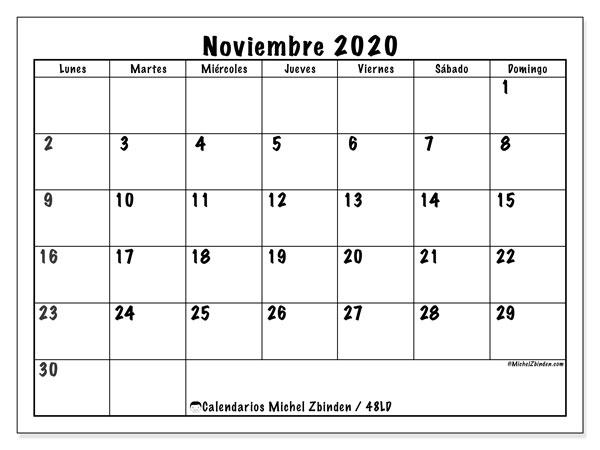 Calendario noviembre 2020, 48LD. Almanaque para imprimir gratis.