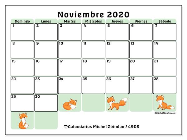Calendario noviembre 2020, 49DS. Calendario para imprimir gratis.