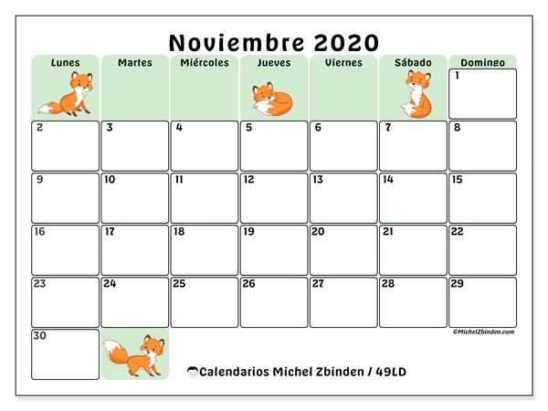 Calendario noviembre 2020, 49LD. Almanaque para imprimir gratis.