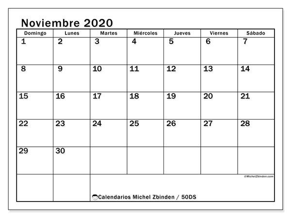 Calendario noviembre 2020 - 50DS - Michel Zbinden ES