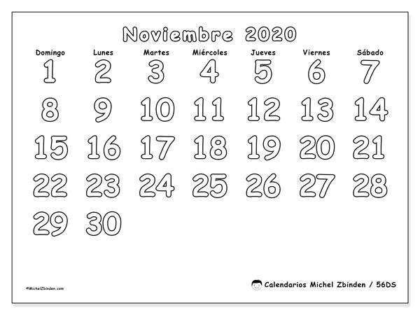 Calendario noviembre 2020, 56DS. Planificación para imprimir gratis.