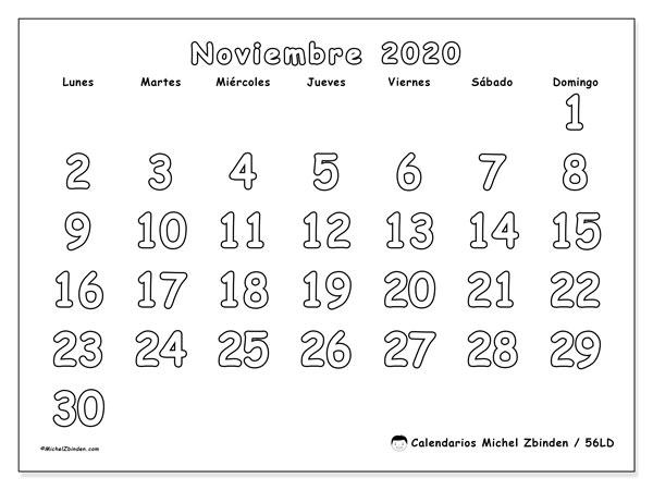 Calendario noviembre 2020, 56LD. Calendario imprimible gratis.