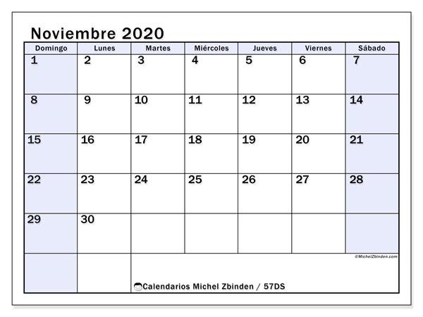 Calendario noviembre 2020, 57DS. Calendario para el mes para imprimir gratis.