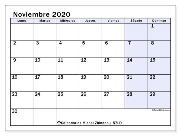 Calendario noviembre 2020, 57LD. Calendario imprimible gratis.