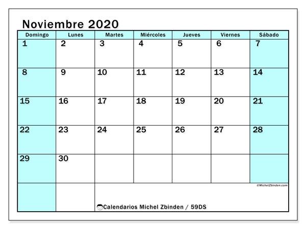Calendario noviembre 2020, 59DS. Calendario gratuito para imprimir.