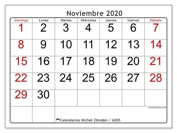 Calendario noviembre 2020, 62DS. Calendario gratuito para imprimir.