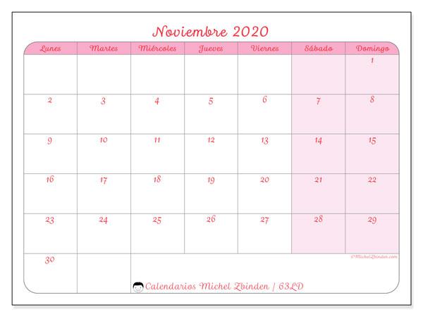 Calendario noviembre 2020, 63LD. Planificación para imprimir gratis.