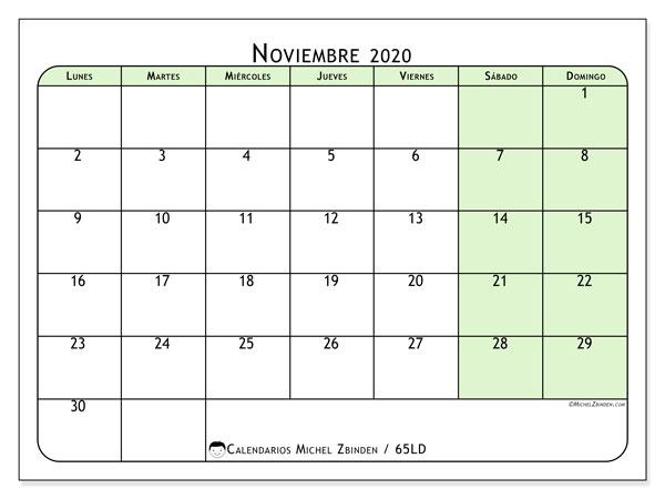 Calendario noviembre 2020, 65LD. Planificación para imprimir gratis.