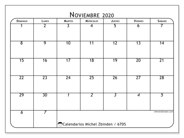 Calendario 67DS, noviembre  de 2020, calendario mensual y Array