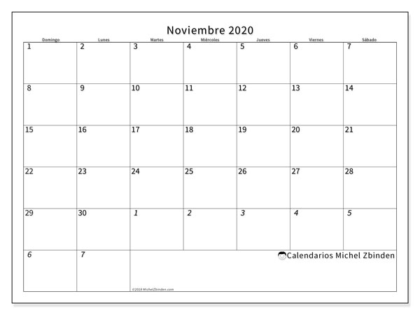 Calendario 2020 Argentina Para Imprimir Pdf.Noviembre Calendario 2020