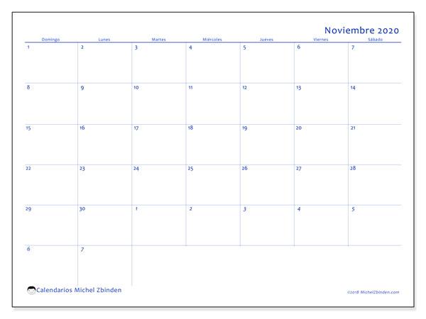Calendario noviembre 2020, 73DS. Calendario mensual para imprimir gratis.
