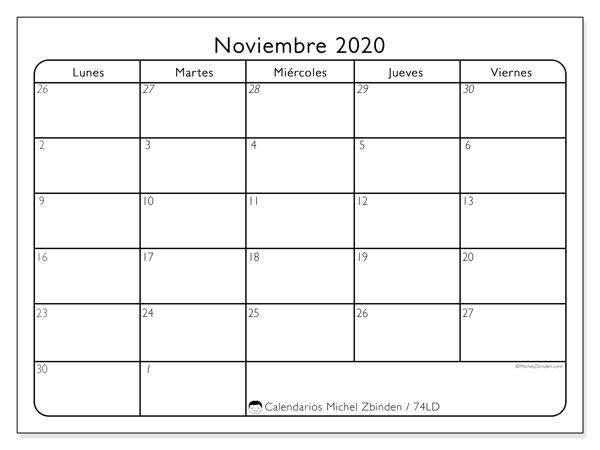 Calendario noviembre 2020, 74LD. Calendario gratuito para imprimir.