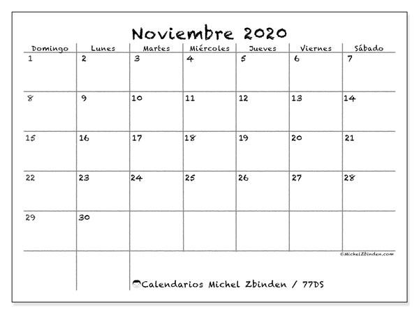 Calendario noviembre 2020, 77DS. Calendario imprimible gratis.