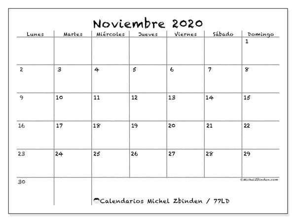 Calendario noviembre 2020, 77LD. Calendario para el mes para imprimir gratis.