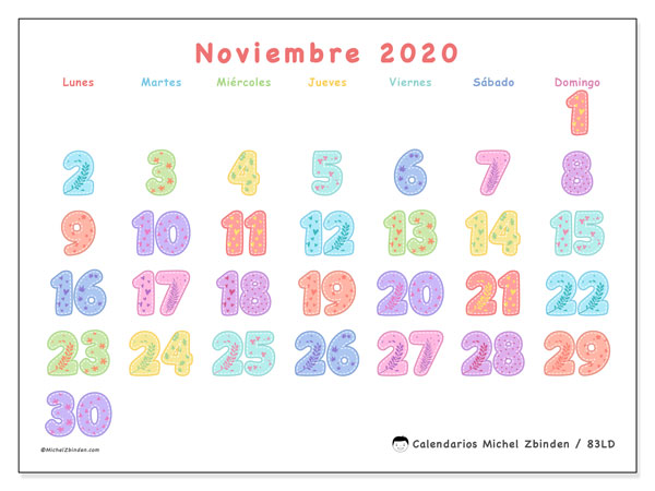 Calendario 83LD, noviembre  de 2020, calendario mensual y Array