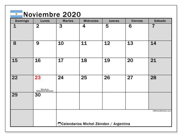 Calendario noviembre 2020, con días feriados en Argentina. Calendario vacaciones y festivos para imprimir gratis.