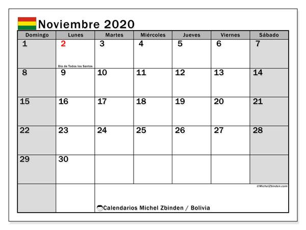 Calendario noviembre 2020, con días feriados de Bolivia. Calendario vacaciones y festivos para imprimir gratis.