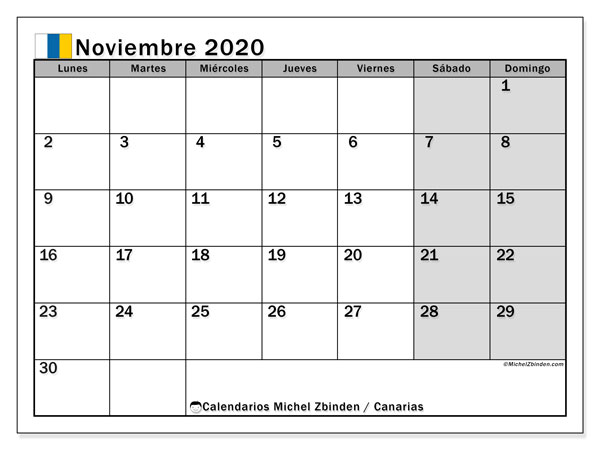 Calendario noviembre 2020, con días feriados en las Islas Canarias. Calendario para imprimir gratis con días festivos.