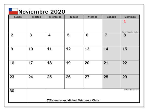 Calendario noviembre 2020, con los días feriados para Chile. Calendario para el mes para imprimir gratis.