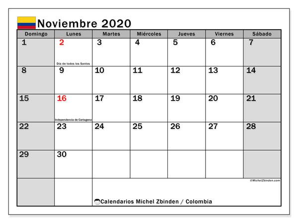 Calendario noviembre 2020, con días feriados de Colombia. Calendario para imprimir gratis con días festivos.