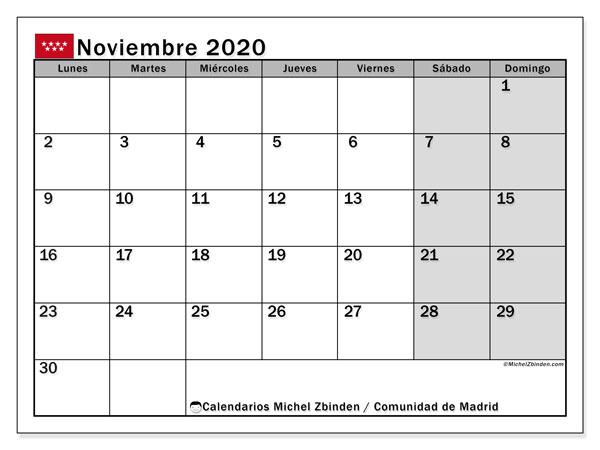 Calendario noviembre 2020, con días feriados de la Comunidad de Madrid. Calendario para imprimir gratis con días festivos.