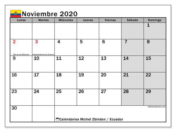 Calendario noviembre 2020, con los días feriados para Ecuador. Calendario gratuito para imprimir.