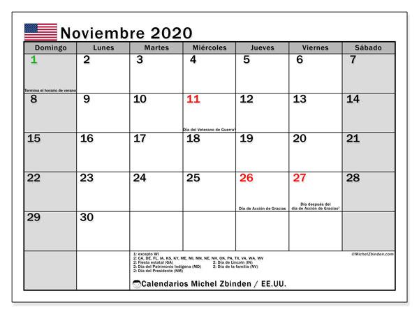 Calendario noviembre 2020, con días feriados de EE.UU.. Calendario para imprimir gratis con días festivos.