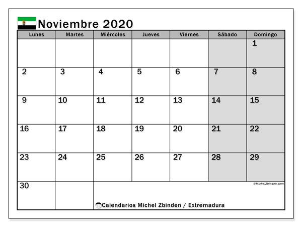 Calendario noviembre 2020, con días feriados en Extremadura. Calendario vacaciones y festivos para imprimir gratis.