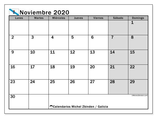 Calendario noviembre 2020, con días feriados en Galicia. Calendario vacaciones y festivos para imprimir gratis.