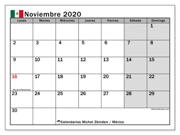 Calendario noviembre 2020, con días feriados de México. Calendario vacaciones y festivos para imprimir gratis.