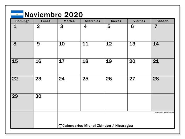 Calendario noviembre 2020, con días feriados en Nicaragua. Calendario para imprimir gratis con días festivos.