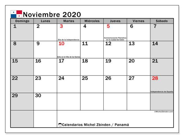 Calendario noviembre 2020, con días feriados de Panamá. Calendario para imprimir gratis con días festivos.