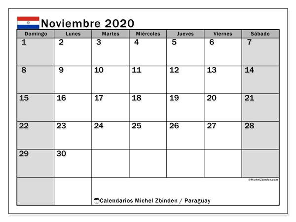 Calendario noviembre 2020, con los días feriados en Paraguay. Almanaque para imprimir gratis.
