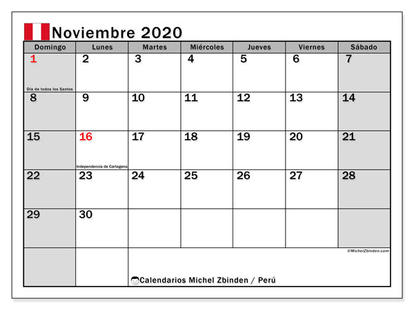 Calendario noviembre 2020, con días feriados en Perú. Calendario vacaciones y festivos para imprimir gratis.