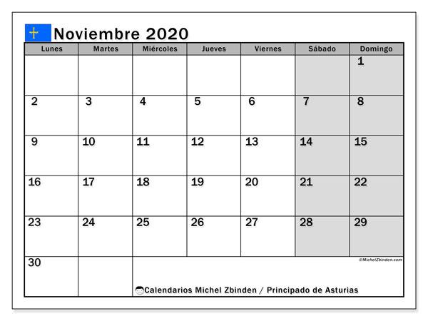 Calendario noviembre 2020, con días feriados del Principado de Asturias. Calendario vacaciones y festivos para imprimir gratis.