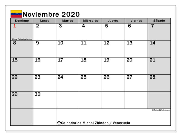 Calendario noviembre 2020, con los días feriados para Venezuela. Planificación para imprimir gratis.