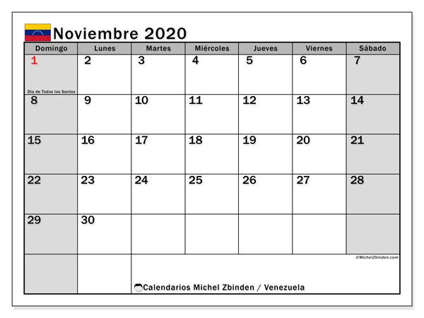 Calendario noviembre 2020, con los días feriados para Venezuela. Calendario para imprimir gratis.