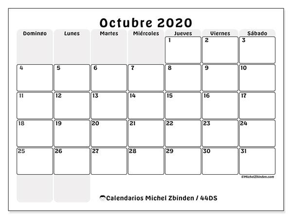 Calendario octubre 2020, 44DS. Calendario para el mes para imprimir gratis.