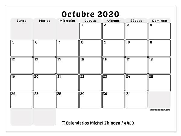 Calendario octubre 2020, 44LD. Calendario mensual para imprimir gratis.